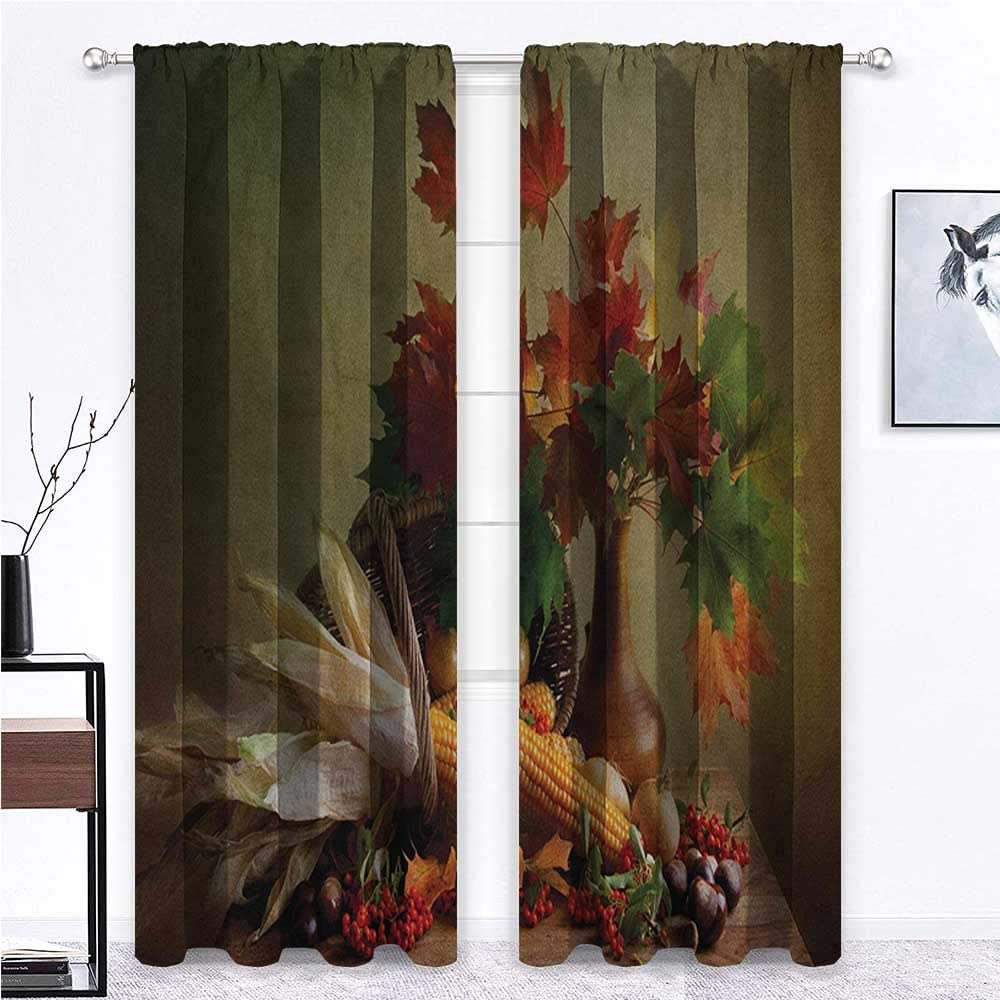 Curtain Panels Harvest Sliding Panel Curtains Blinds Photograph from Death of the Nature Season Fall Vegetables and Leafs Wooden Table Home/Office Artistic Décor 2 Rod Pocket Panels, 42
