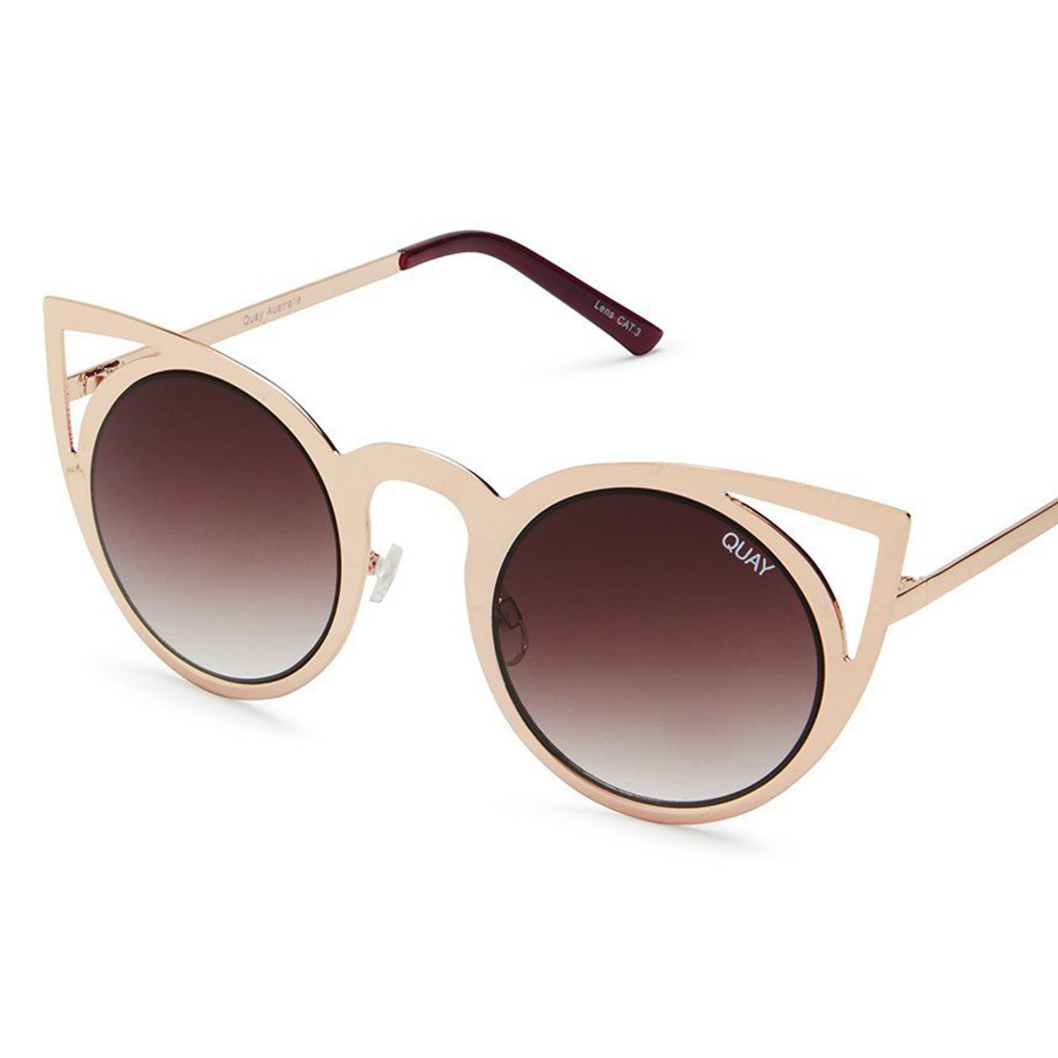 0555171ff35 Amazon.com  Quay Australia signature style INVADER Statement Making Metal  Women s Cat Eye Sunglasses with Non-Polarized Polycarbonate Lenses with  100% UV ...