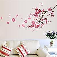 ufengke Flores de Primavera de Cerezo y Mariposas Pegatinas de Pared Rosa Decorativo Extraíble DIY Vinilo Pared…