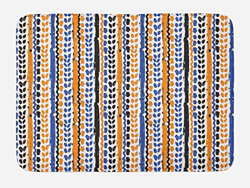 Ambesonne Tribal Bath Mat, Watercolor Chevron Zigzags with Brush Strokes Ethnic Herringbone Lines, Plush Bathroom Decor Mat with Non Slip Backing, 29.5 W X 17.5 L Inches, Navy Blue Orange Black -