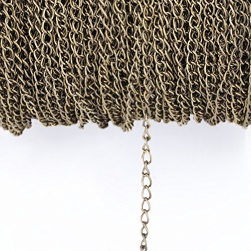 yanhongy 10 M Stainless Steel Flat Cable Bracelet Multi-Standard 2.5 / 3.5 / 4.5mm DIY Bulk Necklace Handmade Jewelry Accessories (Green bronze, 2.5mm)