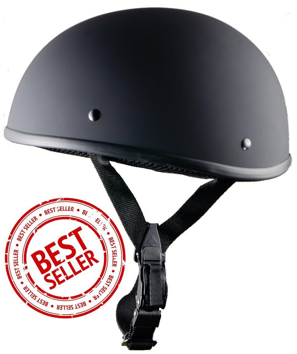 Worlds Smallest/Motorcycle Helmet -/DOT Approved/Ultra Low Profile Beanie Flat Black No Peak Crazy Als Medium