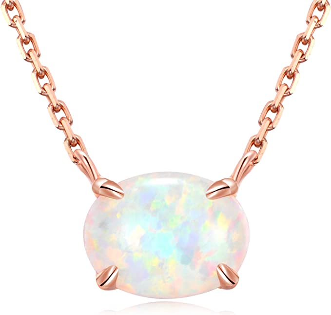 AAA Blue Opal Necklace,Gemstone Necklace,Dainty Opal Beads Necklace,October Birthstone Necklace,925 Silver,Gold,Rose Gold Necklace For Sale