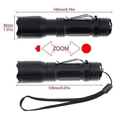 Zoom Tactical Flashlight Red Green Blue White LED 4 in 1 Hunting Light USB Torch