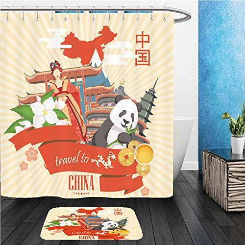 Beshowereb Bath Suit: ShowerCurtian & Doormat china travel vector illustration chinese set with architecture food costumes traditional (Geek Superhero Costumes)