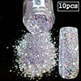 10pcs Spirit Clear Sequins Dust DIY Nail Art Glitter Gem Nail Designs Supplies Light Purple Acrylic UV Mix Size Glitter Powder 285x10pcs