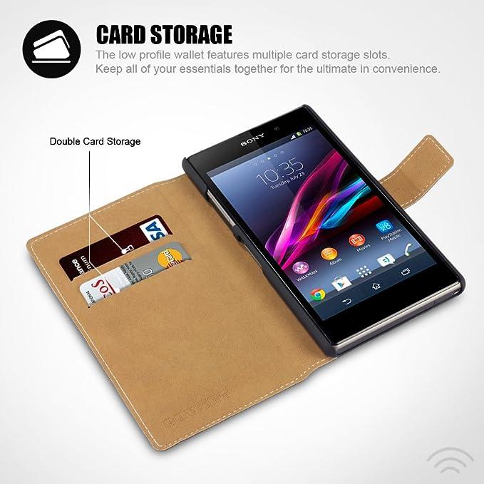 Amazon.com: Sony Xperia Z1 Low Profile Faux Leather Wallet ...