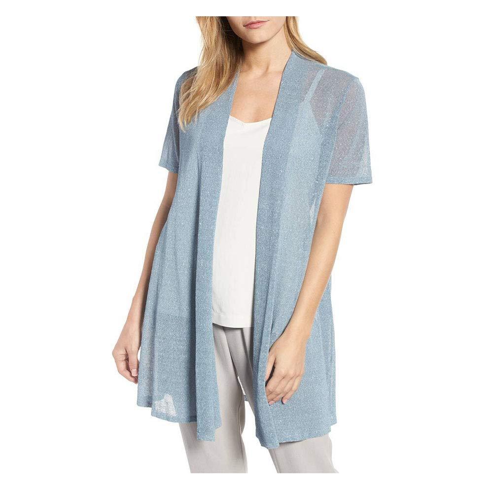 Eileen Fisher Womens Metallic Linen Cardigan Top Blue XL