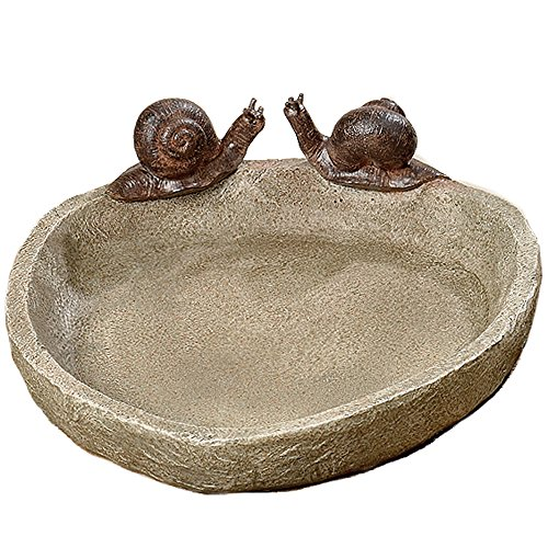 Whole House Worlds Bird Bath with 2 Snails, Off White Stone Finished Basin and Brown, All Weather Poly Resin, 8 1/4 inches Diameter (21cm)