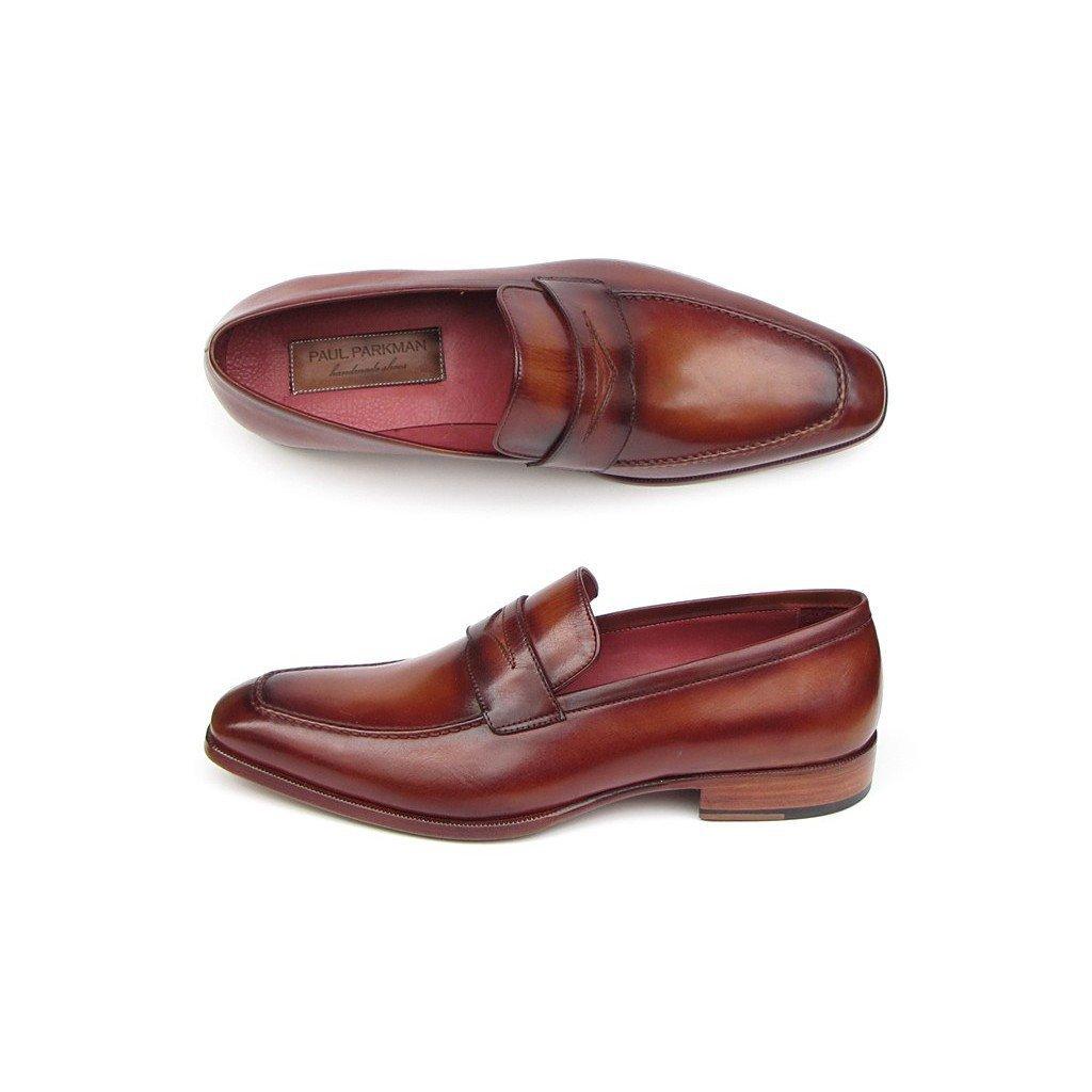 - Paul Parkman Men's Penny Loafer Tobacco & Bordeaux shoes Brown