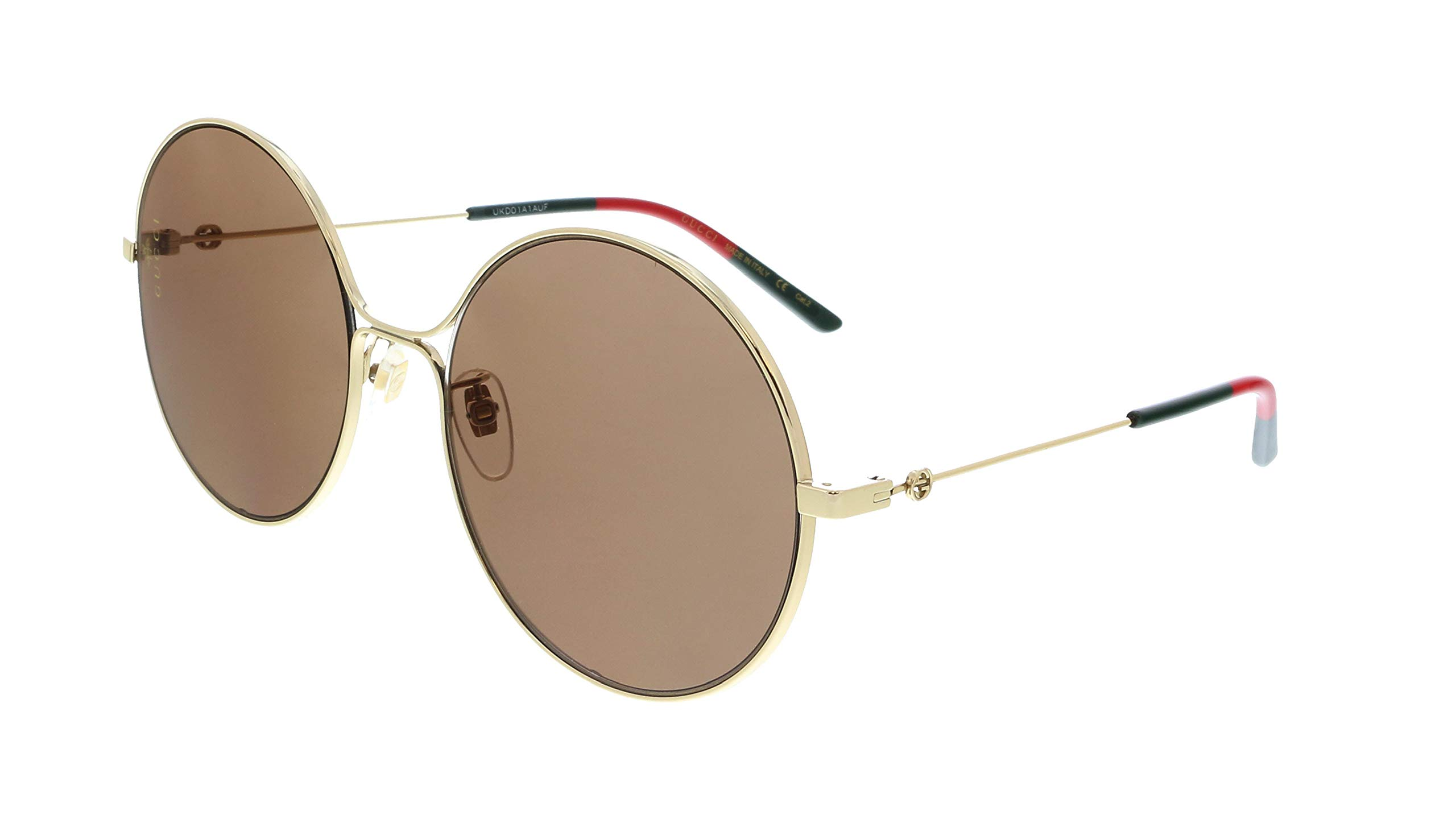 Gucci GG 0395S 002 Gold Metal Round Sunglasses Brown Lens by Gucci