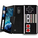 Wallet Case MINITURTLE Compatible with LG K20, LGK20 Plus, LG Grace [CLIP FOLIO Case Series] Wallet Case w/Kickstand Function, Multi-Card Slot – Game Controller Retro