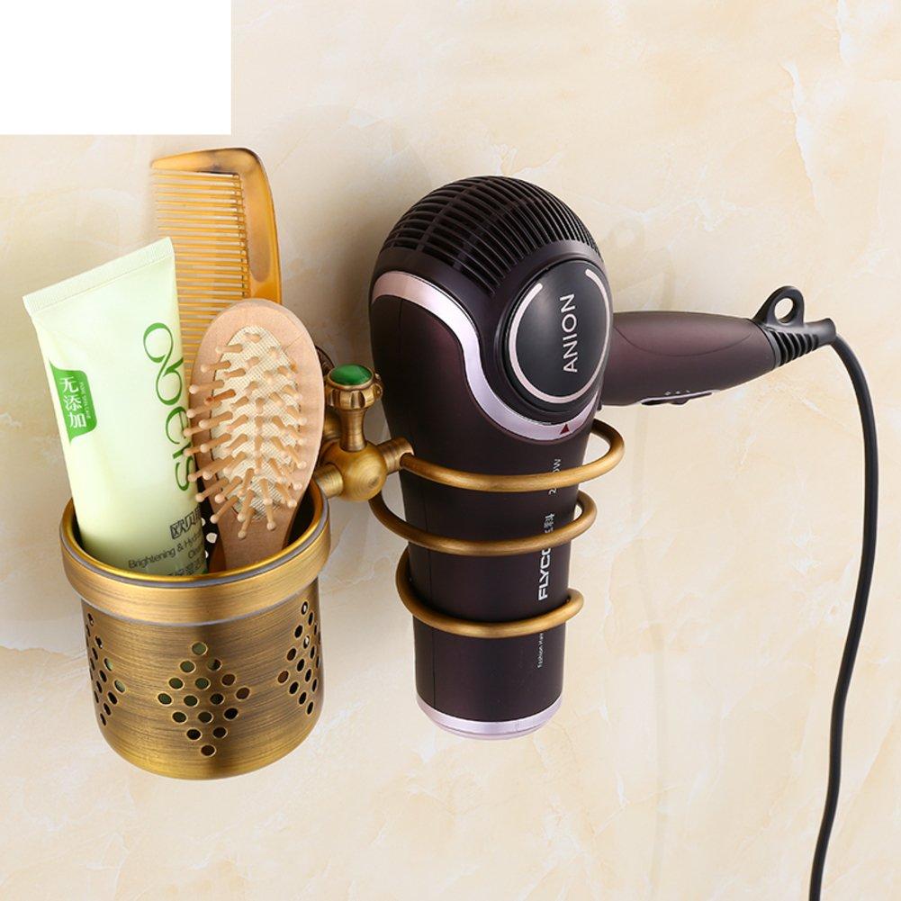 Hair Dryer Holder,Hair Dryer Shelf,Hair Blow Dryer Holder, Continental antique copper hair dryer rack Retro hair dryer rack Comb Bathroom accessories racks SDAFASFS