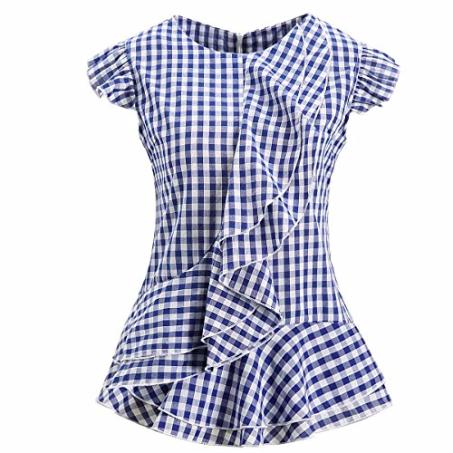 AOMEI Women Sleeveless Blue Plaid Blouses Ruffles Vintage Gingham Peplum Top Shirts US Size 14