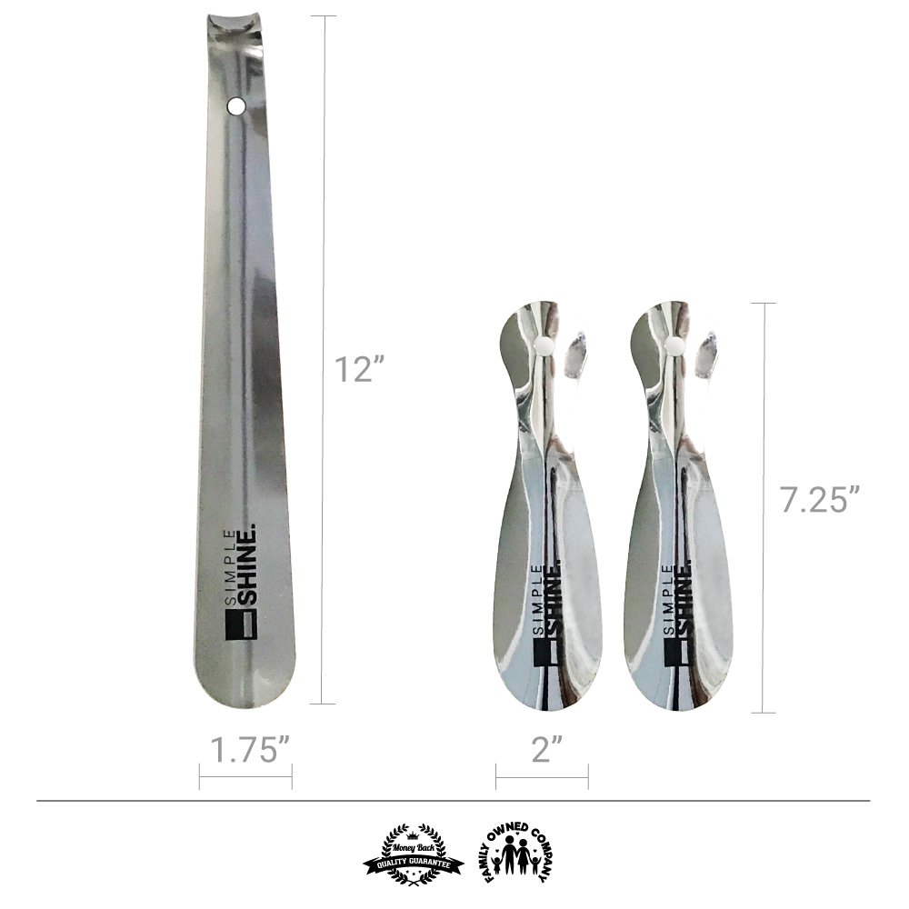 Premium Stainless Steel Shoe Horn Set   Two 7.5'' Short Shoehorns and One 12'' Long Shoehorn   Premium Quality Thicker Metal for Boots, Dress Shoes, Sneakers, Travel and More by Simple Shine (Image #5)