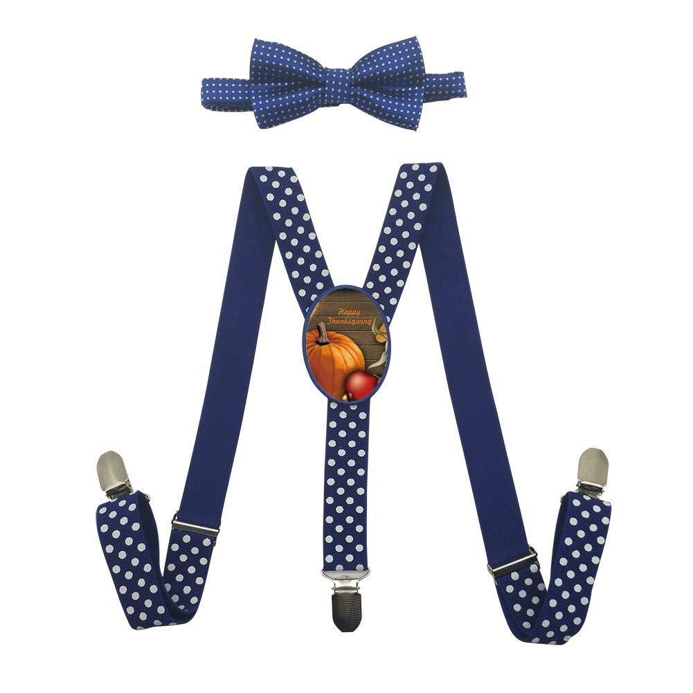 Qujki Happy Thanksgiving Day Pumpkin Suspenders Bowtie Set-Adjustable Length