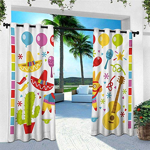 (leinuoyi Fiesta, Porch Curtains Outdoor Waterproof, Mexican Party Pattern Cactus Sombrero Musical Items and a Pinata Ethnic Inspirations, Outdoor Privacy Porch Curtains W72 x L96 Inch Multicolor )