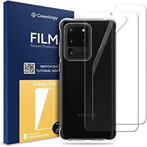 Caseology Solid Flex Crystal Case and 2 Pack Film Screen Protector Bundle for Samsung Galaxy S20 Ultra - Crystal Clear