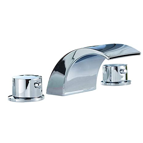 Ggstudy Led Light 3 Colors Two Handles Widespread Bathroom Sink