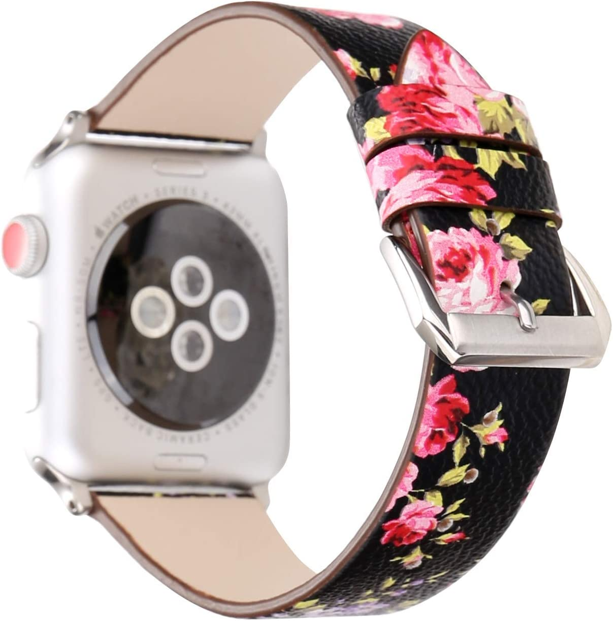 Baymyer Painted Floral Leather for Apple Watch Band 42mm 44mm Women Replacement Strap Bracelet for iWatch Series 4 3 2 1
