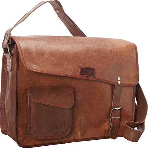 Sharo Leather Bags Computer Messenger Bag Dark Brown
