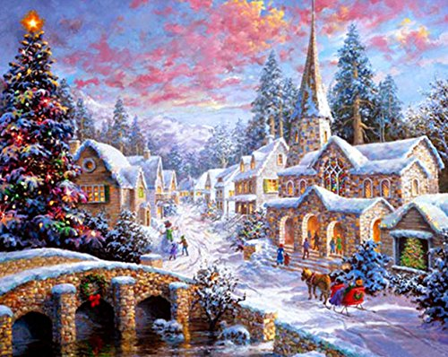 (Diamond Painting by Number Kits Happy Town Christmas Decorations Full Drill 5D DIY Arts & Crafts Bling Artwork Decor Set with Crystal Rhinestone Gems 12x16