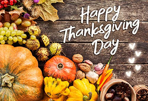 Baocicco 8x6.5ft Happy Thanksgiving Day Backdrop Pumpkins Mature Fruits Pine Cone Vintage Wood Planks Photography Background Autumn Harvest Festival Thanksgiving Day Party Children Photo