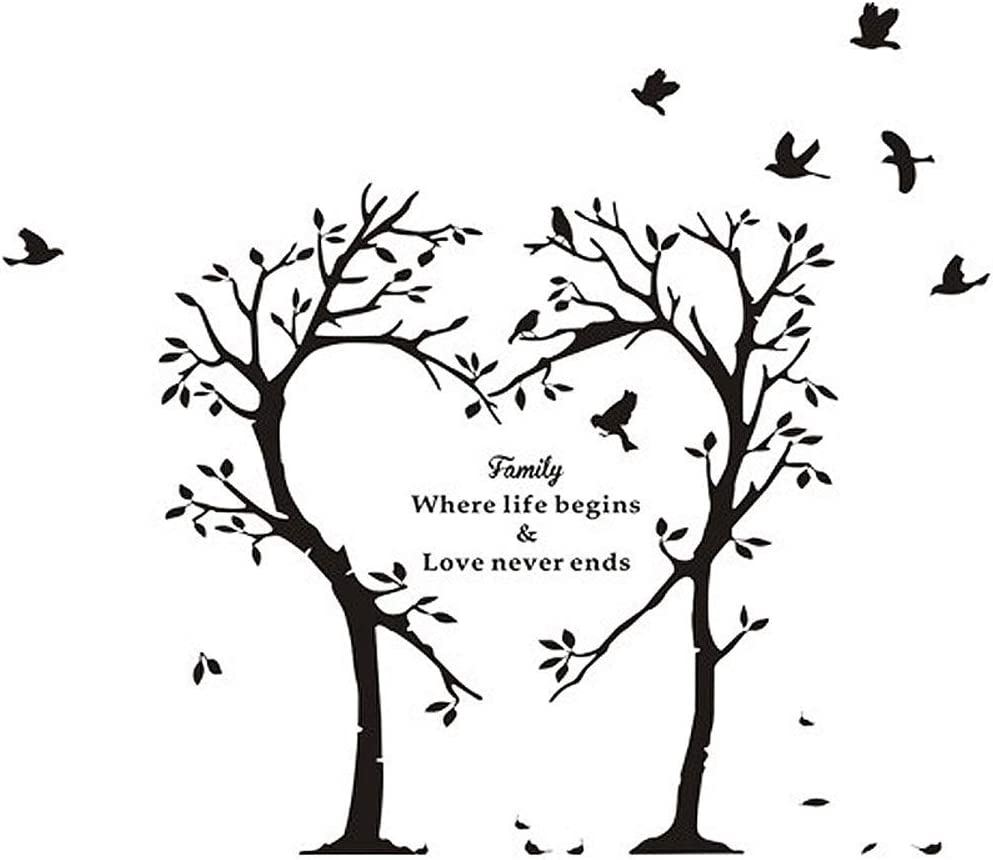 Home Find Black 39 4 Inches X 35 4 Inches Love Tree And Birds With Inspiring Quotes Family Where Life Begins And Love Never Ends Wall Stickers Inspirational Lettering Wall Decals Living Room