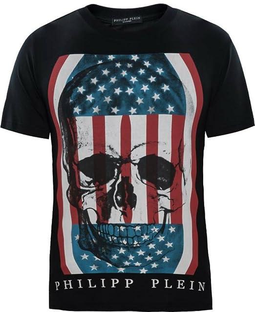 8c911bf588 Philipp Plein American USA Flag T-shirt Men's Skull Shirt (M(170/90 ...