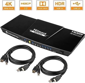 TESmart 4 Port 4x1 HDMI KVM Switch with Audio HDR USB 2.0 Auto-Scan IR Hot Key