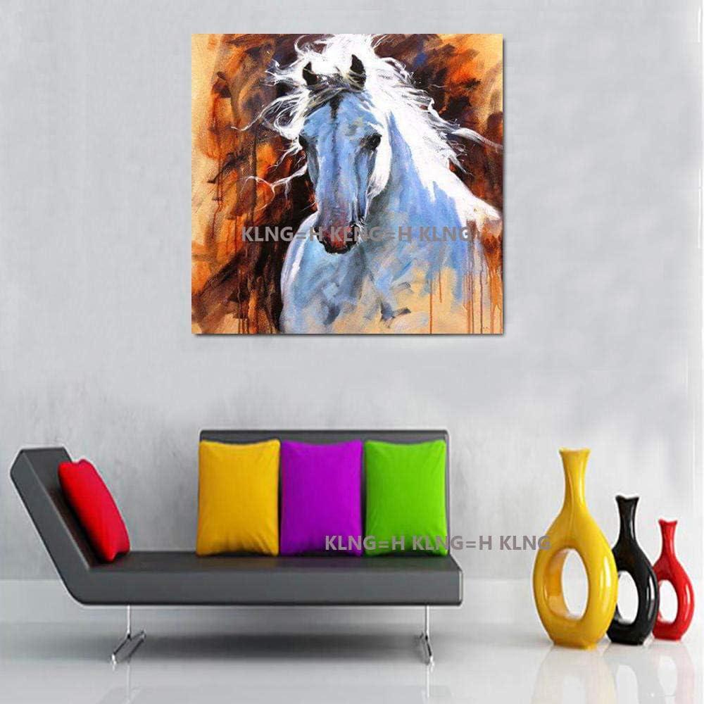 Pintor famoso Pintura abstracta de la cabeza de caballo Cuadros pintados a mano Pintura al óleo Lienzo Arte de la pared Arte de acrílico y artesanía para la decoración del dormitorio-70x70CM_King