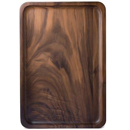 Ecloud Shop Bandeja de madera para servir, bandejas de madera para el té Vino de