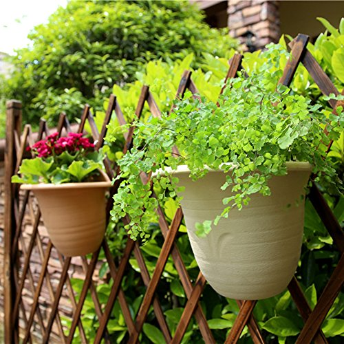Sungmor Strong & Tough Thickened Plastic Wall Hanging Planter,Creative Water Storage Flowerpot,Indoor Outdoor Decorative Carving Flower Planting Pot