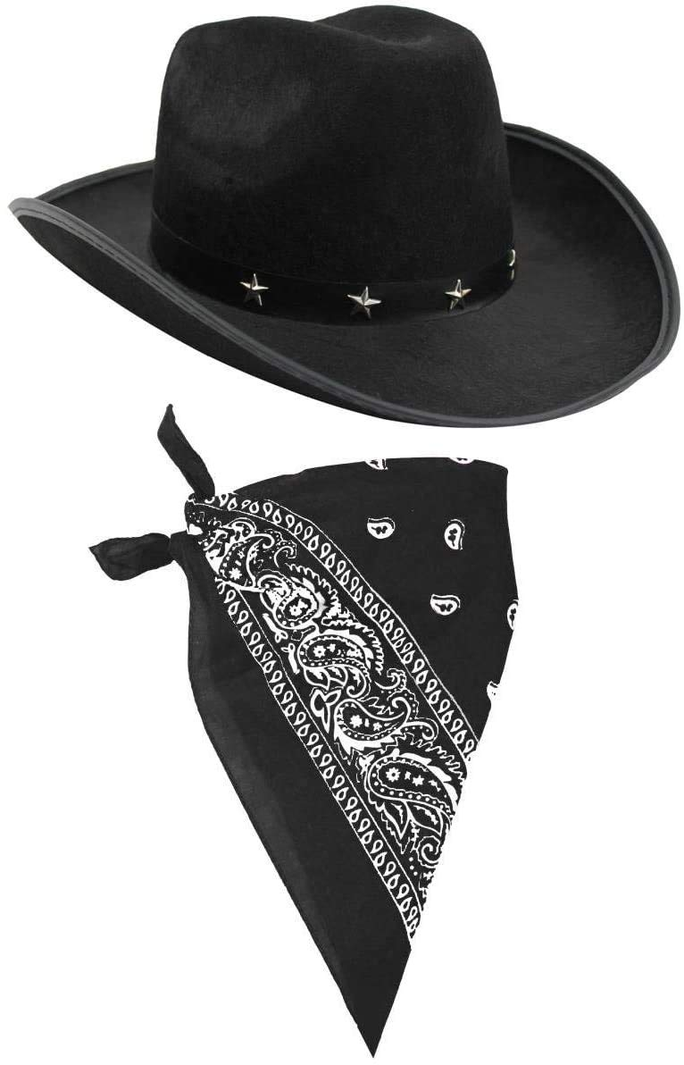 I LOVE FANCY DRESS LTD COWBOY HAT & COWBOY NECKSCARF ACCESSORIES. BLACK STAR-STUDDED COWBOY HAT & BLACK BANDANA. WILD WEST WESTERN SHERIFF. PACK OF: 1 | BANDANA COLOUR: BLACK