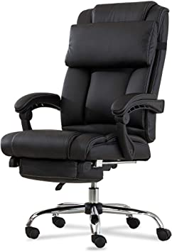 Deluxe Executive Office Chair Reclining Seat High Back w//Footrest Pillow