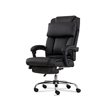 Fine Belleze Executive Reclining Office Chair High Back Pu Leather Footrest Armchair Recline W Pillow Black Gamerscity Chair Design For Home Gamerscityorg