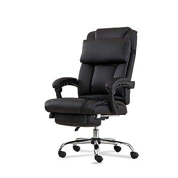 Outstanding Belleze Executive Reclining Office Chair High Back Pu Leather Footrest Armchair Recline W Pillow Black Customarchery Wood Chair Design Ideas Customarcherynet