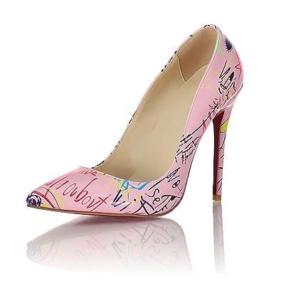 c7c83cfcf16 Honeystore Women s Graffiti Pattern Pointed-Toe Stiletto Heels Pumps Shoes  Pink 5.5 B(M