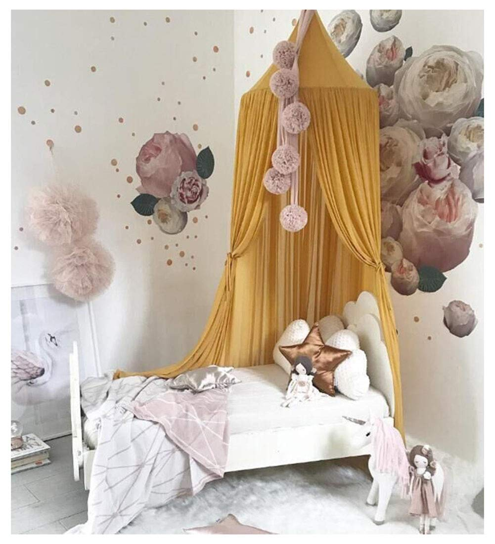 Kids Baby Dome Bed Canopy Bedcover Netting Curtain Fly Midge Insect Cot Mosquito Net - 240cm /94.5inch (Yellow)