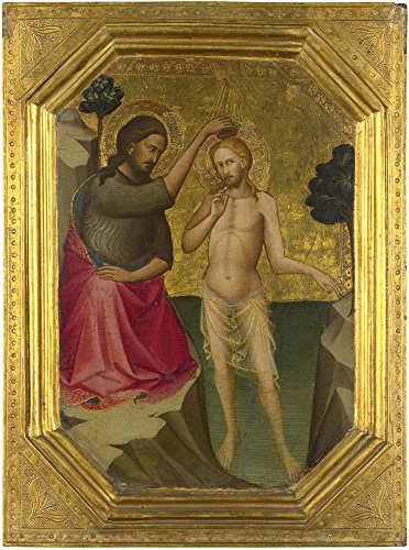(Oil Painting 'Lorenzo Monaco-The Baptism Of Christ,1387-8' 20 x 27 inch / 51 x 68 cm , on High Definition HD canvas prints is for Gifts And Garage, Home Office And Laundry Room Decoration)