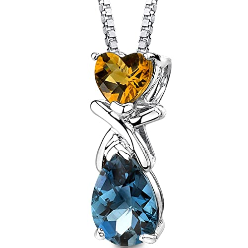 Citrine and London Blue Topaz Combination Pendant Necklace Sterling Silver Rhodium Nickel Finish