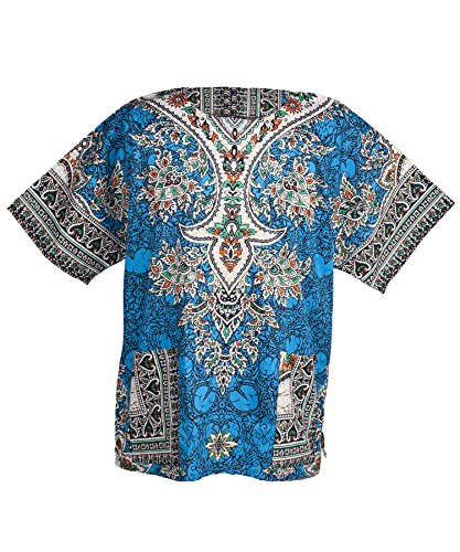 Lofbaz Traditional African Print Unisex Dashiki Ethnic Size XXL Blue by Lofbaz