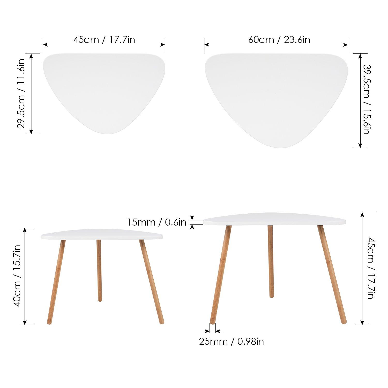 Amazon.com: HOMFA - Juego de 2 mesas auxiliares de café para ...