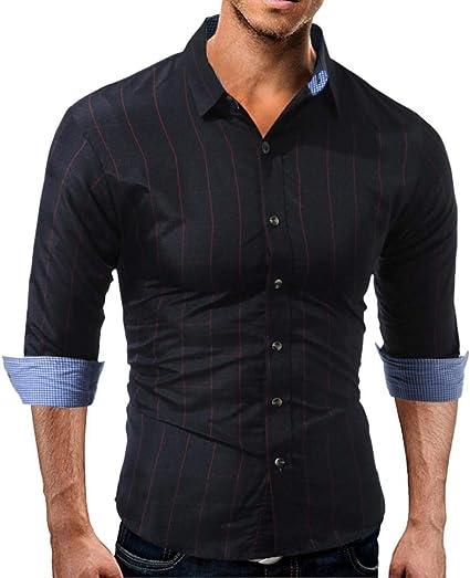 HhGold Camisa Negra para Hombre a Cuadros Top Casual Slim Fit ...