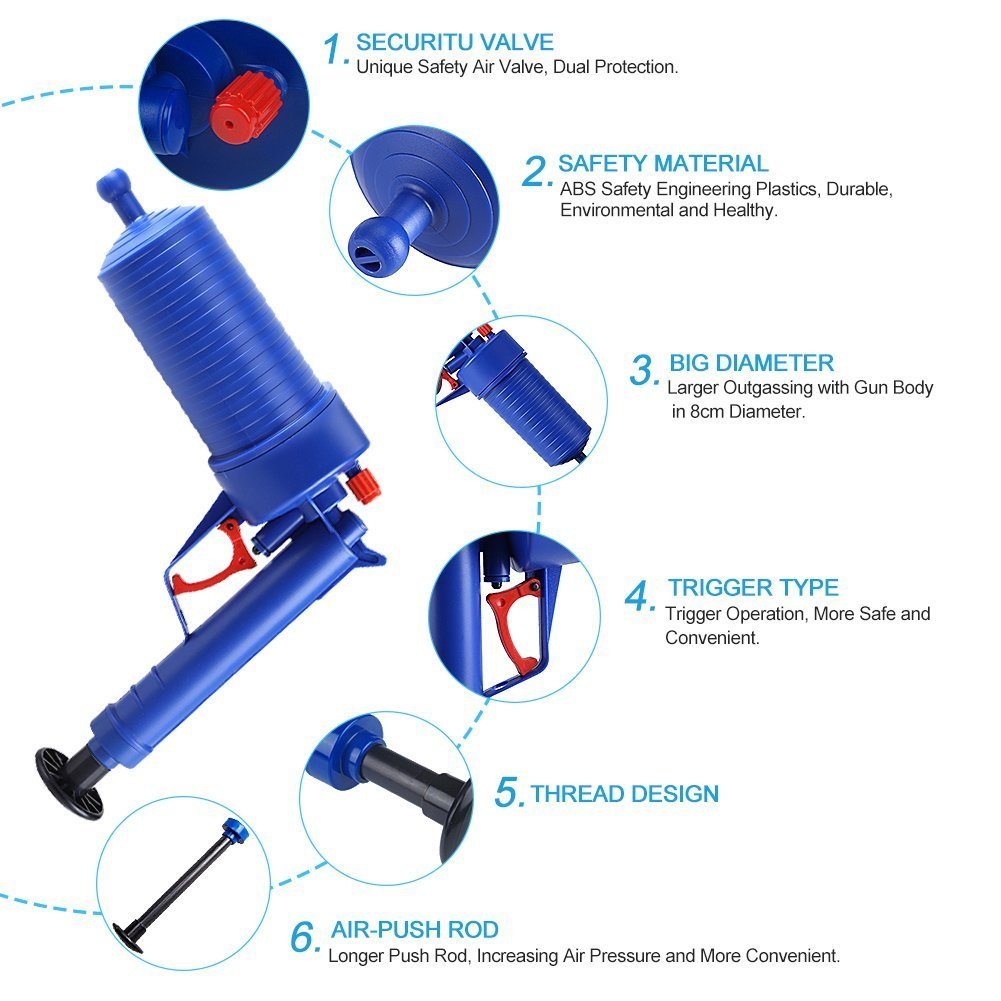 Drain blaster air Powered plunger gun, High Pressure Powerful Manual sink Plunger Opener cleaner pump for Bath Toilets, Bathroom, Shower, kitchen Clogged Pipe Bathtub (blue) by Storystore (Image #2)