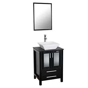 Eclife 24 Inch Modern Bathroom Vanity Units Cabinet And Sink Stand Pedestal  With White Square Ceramic