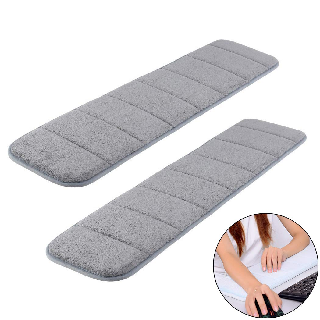 2Pcs Computer Wrist Elbow Pad, Creatiee Upgraded Wrist Rest Arm Pad(Soft, Long-sized), Keyboard Wrist Elbow Support Mat for Office Desktop Working Gaming - Less Elbow Pain (7.9 x 31.5 inch) (Gray) by Creatiee