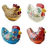 BestPysanky 4 Decorative Figurines: Hen, Chicken and Rooster Wooden Figurines- Folk Art