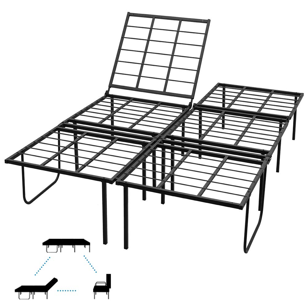 JURMERRY Queen Size Bed Frame Platform Mattress Foundation with Headboard and Footboard Box Spring Replacement Queen, Black Silver