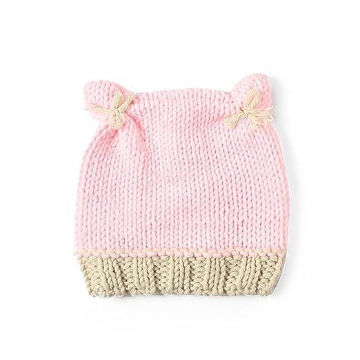7c26b73d64572 Youngate Newborn Baby Infant Solid Color Crochet Weaving Cute Ear Hat Cap  Photo Shoot (0